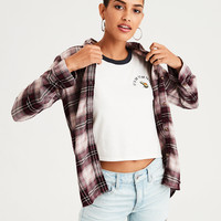 AE Ahhmazingly Soft Plaid Boyfriend Shirt, Purple