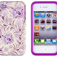 DandyCase 2in1 Hybrid High Impact Hard Lavender & Cream Floral Pattern + Purple Silicone Case Cover For Apple iPhone 4S & iPhone 4 + DandyCase Screen Cleaner