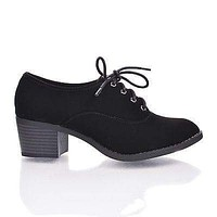 Mataro By Classified, Round Toe Lace Up Oxford Inspired Stacked Heel Women's Shoes