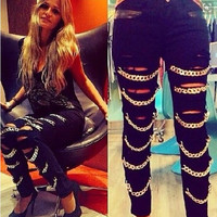 High Waist Chain Patchwork Ripped Holes Jeans [8999049220]