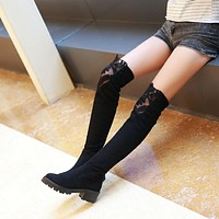 Elastic Lace Thigh High Boots Black High Heels Shoes Woman 3330