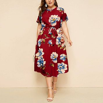 Summer Short Sleeve Floral Print Boho Beach Dress