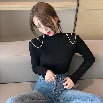 Sweater chain knit female sets new winter long sleeve cultivate one's morality in pure color base coat
