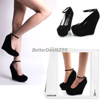 US SHIP black womens dress suede wedge buckle strappy platform high heel shoes