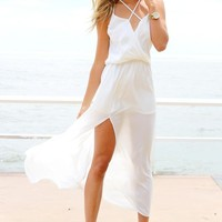 White Maxi Dress with Criss Cross Top and Split Skirt