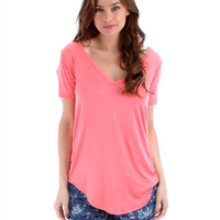 Women's Plus Size Pink Shirttail Hem Long V-Neck