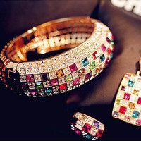 Dazzling Colorful Rhinestone Crystal Ring Jewelry Women Love Style Fashion