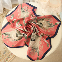 Superior quality Real silk Feather printing Bandana