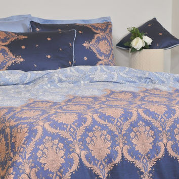 Navy, Baby Blue Damask Dorm Bedding Set in Twin Twin Xl, Damask Cotton Sateen Moroccan Style, Boho Bedding, 4 pcs Duvet Cover & Sheet Set