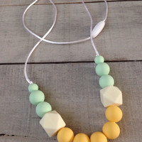 Mint Yellow Cream Geometric Silicone Teething Necklace, Silicone Beads Nursing Necklace, Hexagon Silicone Beads, BeadedTeething Necklace
