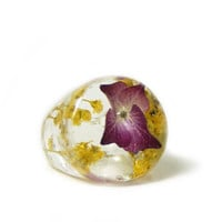 Real Flower Jewelry- Purple Ring- Yellow Flower Ring- Flower Ring -Flower Resin Ring -Resin Jewelry- Real Flower Ring - Yellow  Jewelry
