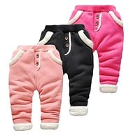 Baby Warm Pants for Girls Children Velvet Thick Leggings pants toddler Girls newborn casual pants kids trousers