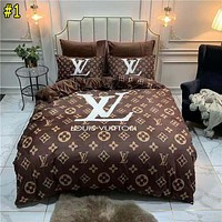 LV Dior VERSACE Givenchy Hermes Coral Fleece Four-piece Flannel Duvet Cover Sheet Crystal Fleece Three-piece Fleece Bedding Set