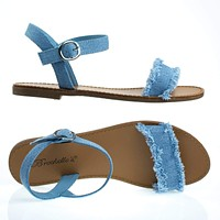 Kylee18 Flat Jean Sandal w Torn / Frayed Edge Trimming & Adjustable Ankle Strap