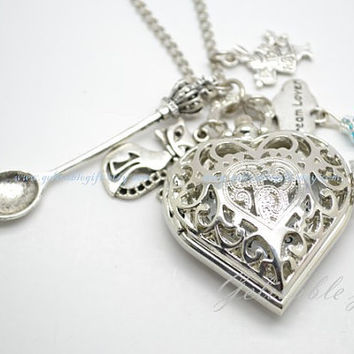 Alice in wonderland- Alice love heart locket pocket watch necklace,with spoon ,Cheshire Cat,rabbit,dream lover cloud pendant NWAW03