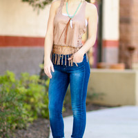 GENIE IN A BOTTLE FRINGE SUEDE TOP