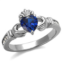 Stainless Steel Claddagh Heart-Cut Synthetic Royal Blue Promise/Engagement Ring