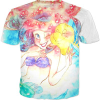 Little Mermaid Watercolor T Shirt