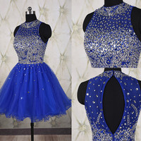 Sparkling royal blue short homecoming dress with full beaded top,tulle short prom dress,shining school dance dress,crystal party dress DP250