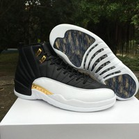 2017 AAA+ quality air retro 12 wings Men Basketball Shoes Discolor Gold Wings Black Golden Men Sport Sneakers size eur 41-47 free shipping