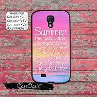 Summer Pink Ocean Quote Tumblr Quote Cute Life Gets Better Custom Galaxy S5 and S4 and S3 Case and Galaxy Note 2 and Note 3 and Note 4 Case