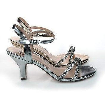 Martini By Delicious, Rhinestone Crystal Encrusted Low Heel Sandal w/ Ankle Strap