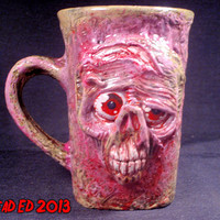 Glow In The Dark Deluxe Converted Morbid The Dead Mug By Undead Ed OOAK