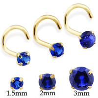14K Real Gold (Nickel free) Nose Screw with Round Sapphire