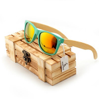 yjf00-green Bobobird Vintage Wayfarer Mirrored Polarized Bamboo Sunglasses Women's Men's Sunglasses in Wood Box = 1945971460
