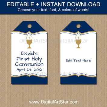 Printable First Communion Favor Tag Template - First Communion Tags with EDITABLE Text Navy and Gold - First Communion Party Decorations