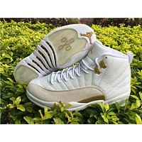Air Jordan 12 ovo white/golden  Basketball Shoes  36---47
