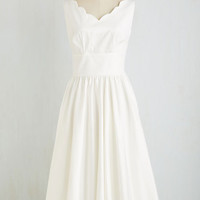 ModCloth Vintage Inspired Long Sleeveless Fit & Flare Periwinkle and a Smile Dress in White