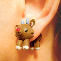 Cute Rudolph Fake Gauges Christmas Earrings by AllieCharms on Etsy