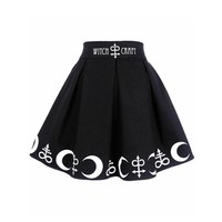2018 Summer Women Witch Moon Printed Harajuku Punk Rock Gothic Skirt High Waist Witch Craft Moon Star Print Goth Pleated Skirts