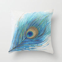 Colorful Peacock Feather Acrylic Painting  Throw Pillow by ModArtSpace