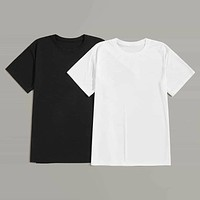 Fashion Casual Men Solid Basic Tee 2pcs