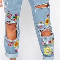 The Ragged Priest High Rise Mom Jeans With Rips & Festival Flower Emeblishments