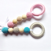 Pink crochet teething beads, Baby teething toy, Valentines day baby toy