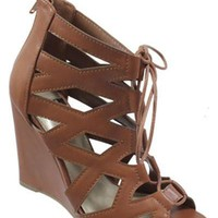 Saddle Lace Up Wedge Sandals