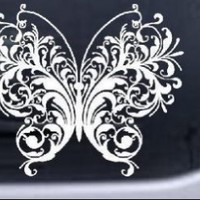 Swirl Butterfly Butterflies Car Window Wall Laptop Decal Sticker -- White 8in X 6.7in