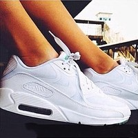 NIKE AIR MAX 90 fashion ladies men running sports shoes sneakers Pure white