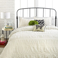 Ruched Stripes Ivory 3 Piece Comforter and Duvet Cover Sets