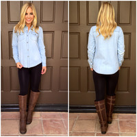 Light Chambray Button Up Double Pocket Top