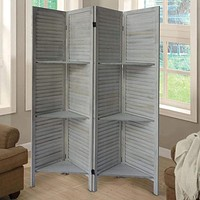 Plank 4 Panel Folding Divider Privacy Screen with 9 Storage Shelves and Metal Hinges, White By The Urban Port