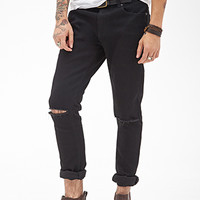 Distressed Clean Wash - Skinny Jeans Black