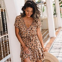 Leopard Print Single breasted Short Sleeve Ruffle Dress