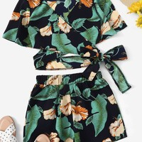 Floral Print Criss Cross Wrap Knot Top With Shorts