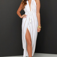 Faithfull the Brand Promenade Brown and Ivory Striped Maxi Dress