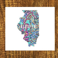 LILLY PULITZER Illinois Home Decal | Illinios State Decal | Homestate Decals | Love Sticker | Love Decal  | Car Decal | Car Stickers | 105