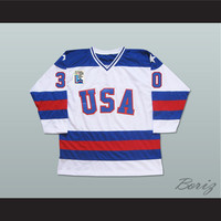 1980 Miracle On Ice Team USA Jim Craig 30 Hockey Jersey White with Patch